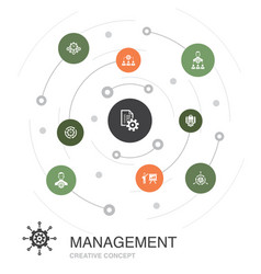 Management colored circle concept with simple vector