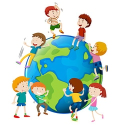 Many children areound the world vector image