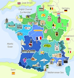 Map of France with landmarks vector