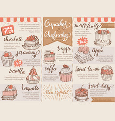 menu dessert cafe design sweet food vector image