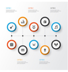 music icons set collection of barrel equalizer vector image