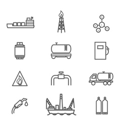 Natural gas line icons set vector