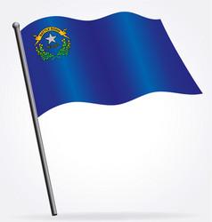 Nevada nv state flag waving on flagpole vector