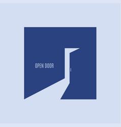open door logo on door blue backgound vector image