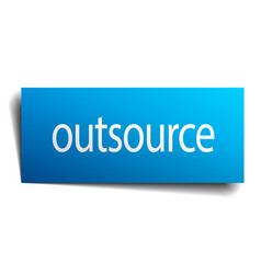 Outsource blue paper sign on white background vector