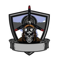 pilot skull badge design vector image