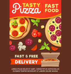 Pizza and pizzeria delivery menu vector