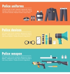 police uniform and set protection staff equipment vector image