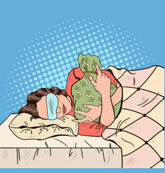 Pop art young woman sleeping in bed with money bag vector