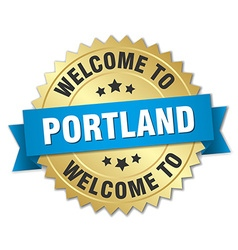 Portland 3d gold badge with blue ribbon vector