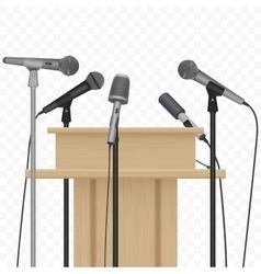 Press conference speaker podium tribune with vector