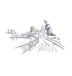 providence rhode island usa america sketch city vector image