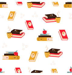 seamless pattern with pile books apples vector image