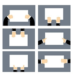 Set hands and white sheet Billboard Blank paper in vector