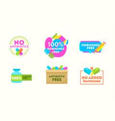 Set icons no antibiotics hormones free vector