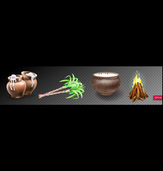 Set of realistic clay pot with rice sugarcane and vector