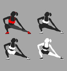 set of woman fit pose logo and icon sport vector image