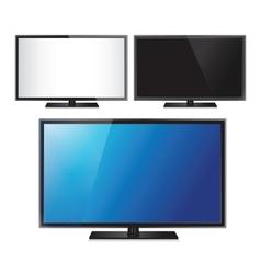 Set three tv flat screen lcd plasma realistic vector