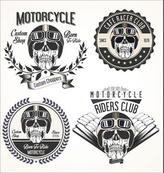 set vintage motorcycle emblems and labels vector image
