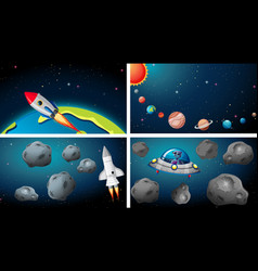 Ships in space scene vector