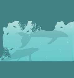 Silhouette of big whale on sea landscape vector