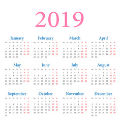 simple annual calendar 2019 vector image