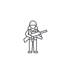 soldier gear line icon sign vector image