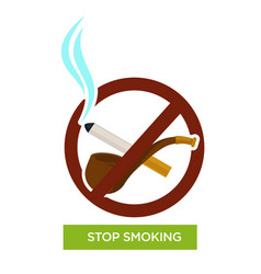 Stop smoking sign pipe and cigarette tobacco vector