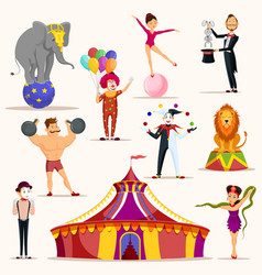 Strong man and circus tent meme artist and clown vector