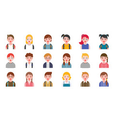 Student avatar with various hair style flat design vector