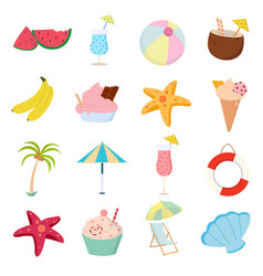 summer icons set on white background for graphic vector image