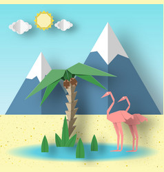 Summer paper origami concept with flamingo vector
