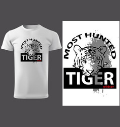 t-shirt print design with tiger head vector image