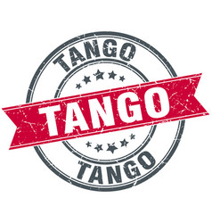 Tango red round grunge vintage ribbon stamp vector