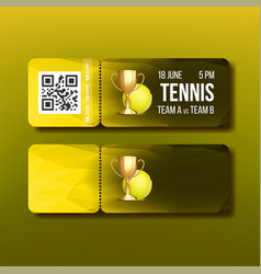 Ticket with tear-off coupon visit tennis vector