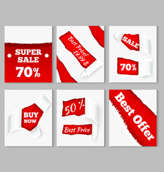 torn paper sale cards vector image