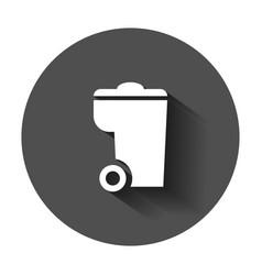 trash bin garbage icon in flat style trash bucket vector image