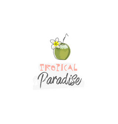 tropical summer background with cute cartoon items vector image
