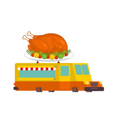 turkey car food truck thanksgiving day fast food vector image