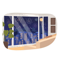 view from living room window holiday salute in vector image