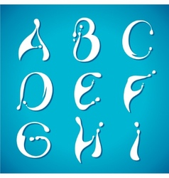 Water milky alphabet vector