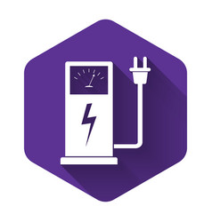 white electric car charging station icon isolated vector image