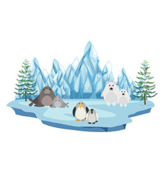 Wildlife in the arctic land vector
