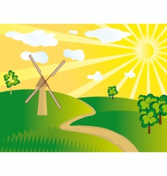 Windmill in the field vector