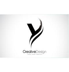 Y letter design brush paint stroke vector