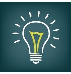 Chalk hand-drawn idea light bulb icon on gradient vector image