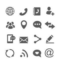 Contact communication icons set vector image