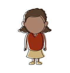 cute little girl child standing cartoon vector image