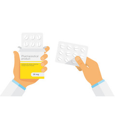 doctor holding blister pack of pills in hands vector image vector image