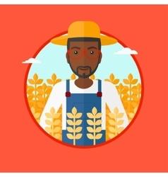 Farmer in wheat field vector image vector image